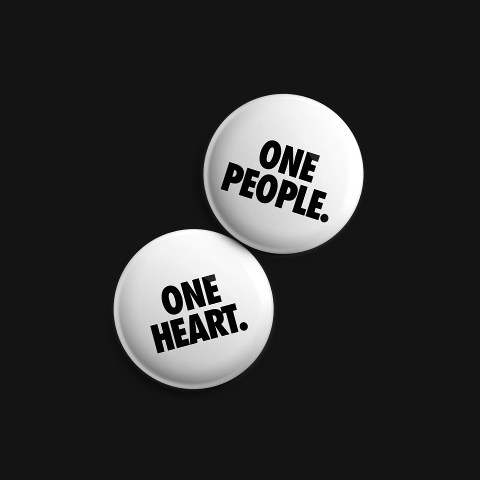 one people. one heart. button set.