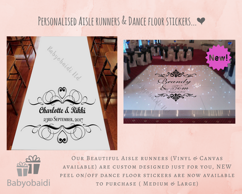 Our personalised vinyl dance floor stickers give the wow factor to any event great for first dance photos they come in two sizes medium and large and