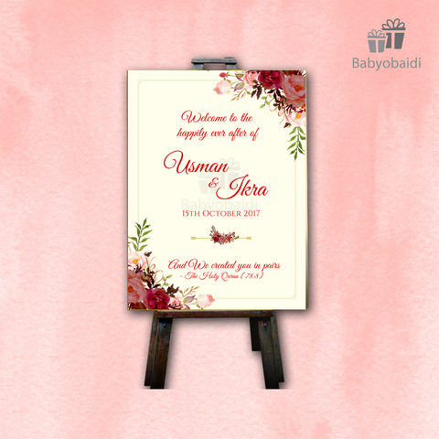 Wedding Welcome Canvas: Cream and red floral design