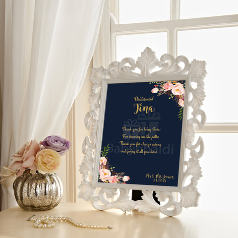 Wedding thank you Gift : navy blue with blush flowers