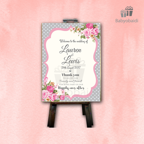 Wedding Welcome Canvas: Vintage Polka Dots