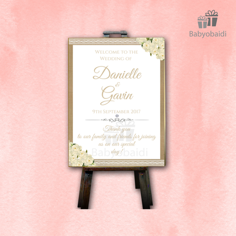 Wedding Welcome Canvas: Hessian white