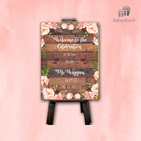 Wedding Welcome Canvas: Floral wood design