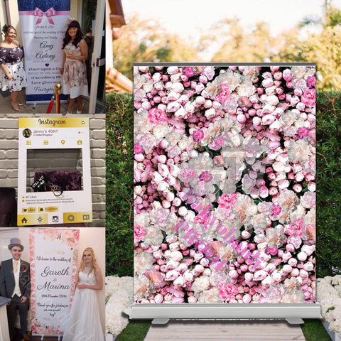 Spring Combo 5 - XL Photo Booth Backdrop + Welcome Banner + Selfie frame