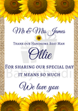 Wedding thank you Gift : hessian and sunflowers