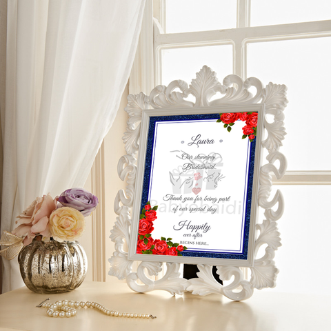 Wedding thank you Gift : navy blue trim with red flowers
