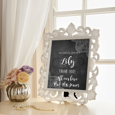 Wedding thank you Gift : chalkboard with lace