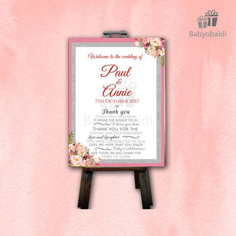 Wedding Welcome Canvas: Floral Glitter Poem
