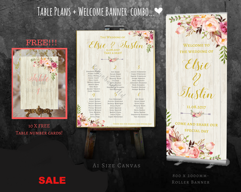 SALE - Welcome Banner +  Table Plan  FREE TABLE NUMBERS worth £20