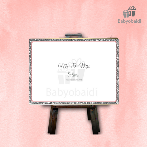 Guestbook Signing Canvas: Landscape Glitter