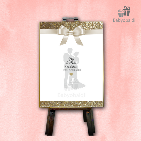 Guestbook Signing Canvas: Bow Silhouette