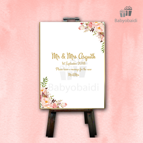 Guestbook Signing Canvas: Pretty Floral