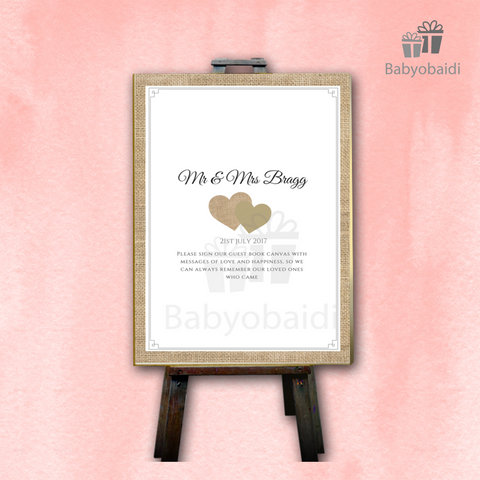 Guestbook Signing Canvas: Hessian