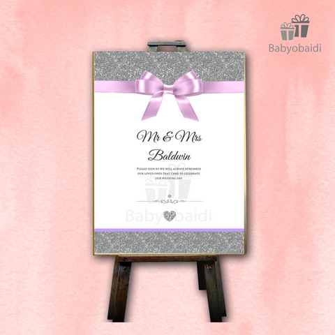 Guestbook Signing Canvas: Glitter Bow