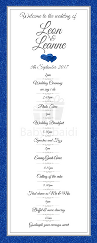 Babyobaidi Order of Day Banner: Blue glitter with hearts