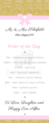 Babyobaidi Order of Day Banner: Gold glitter pink bow design