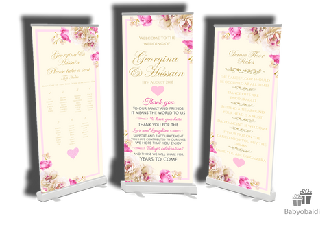 SALE- Wedding Table Plan + Dancefloor rules  banner  + Matching Welcome banner - Any Design!