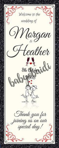 Babyobaidi Welcome Banner: Black glitter Cartoon