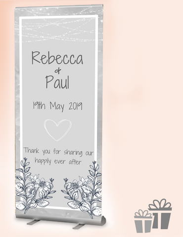 2019 wedding welcome banner : grey meadows