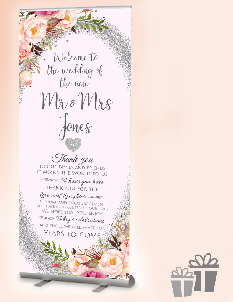 2019 Wedding Welcome Banner Gorgeous Glitz Honey Maple Design Ltd