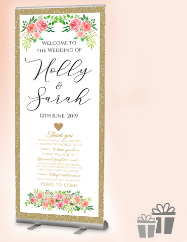 2019 wedding welcome banner : gold traditional