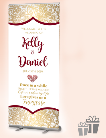 2019 wedding welcome banner : gold flock