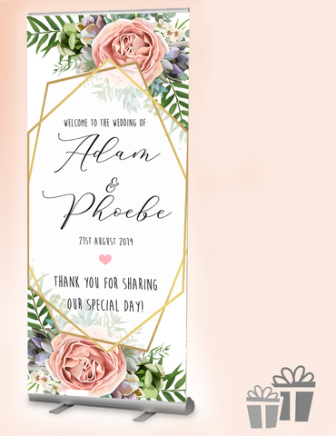 2019 wedding welcome banner : Modern Blush
