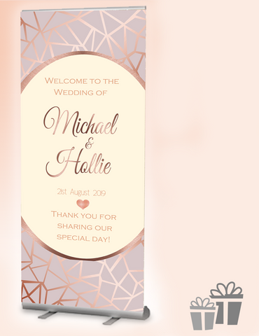 2019 wedding welcome banner : Rose Gold Geometrics