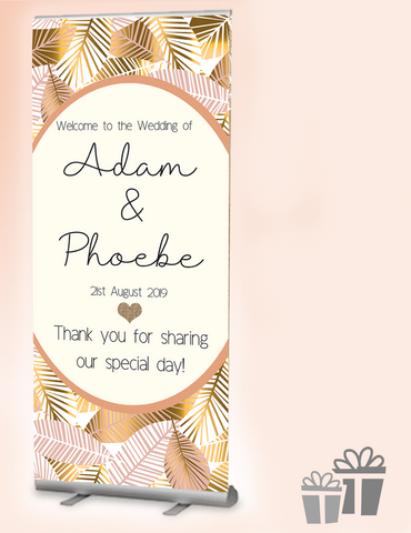 2019 wedding welcome banner : Metallic Palms