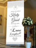 Babyobaidi wedding Welcome Banner:  White Glitter Bow no10