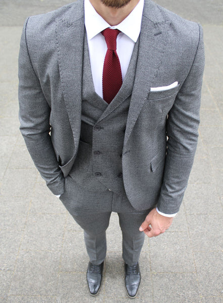Grey Patterned 3 Piece Suit - Gentlemen's Crate