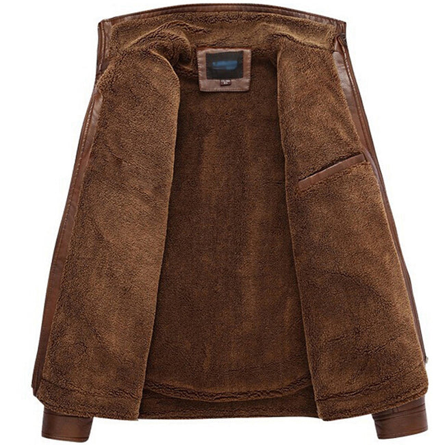 Dark Coffee Faux Fur Leatrher Jacket - Gentlemen's Crate