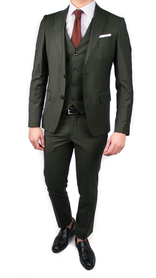 Dark Green 3 Piece Wool Suit