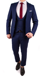 Navy 3 Piece Suit with Double Breasted Vest - Gentlemen's Crate