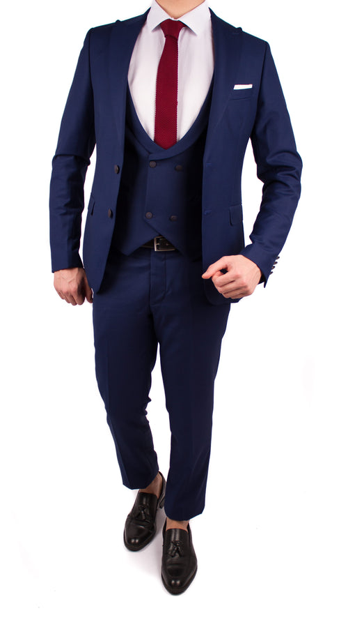 Navy 3 Piece Suit with Double Breasted Vest