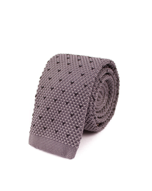 Grey Dotted Knitted Necktie - Gentlemen's Crate