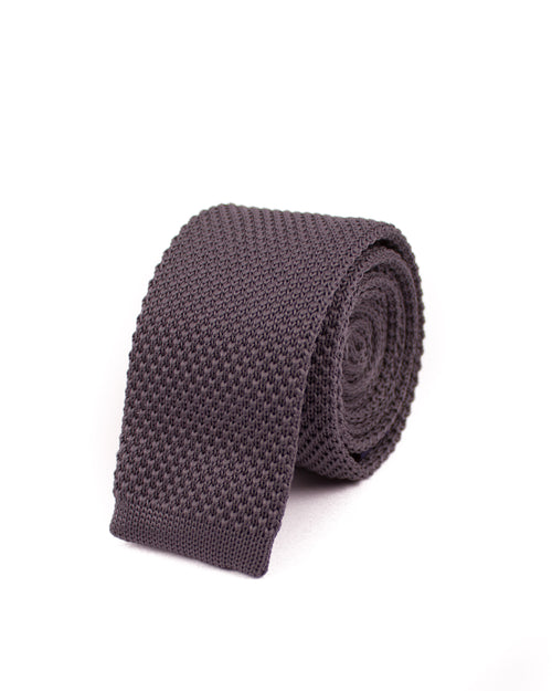 Dark Grey Knitted Necktie - Gentlemen's Crate