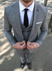 Grey Check 3 Piece Suit - Gentlemen's Crate