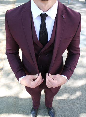 Burgundy 3 Piece Suit - Gentlemen's Crate