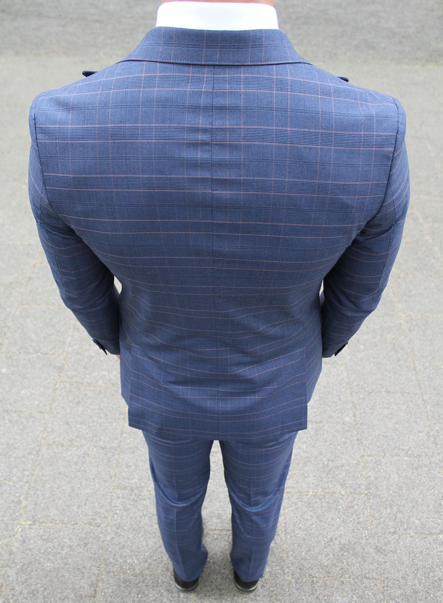 Navy Red Check 3 Piece Suit - Gentlemen's Crate