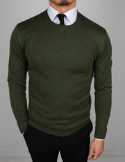 Army Green Round Neck Sweater - Gentlemen's Crate