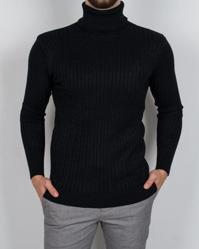 Black Braided Turtleneck - Gentlemen's Crate