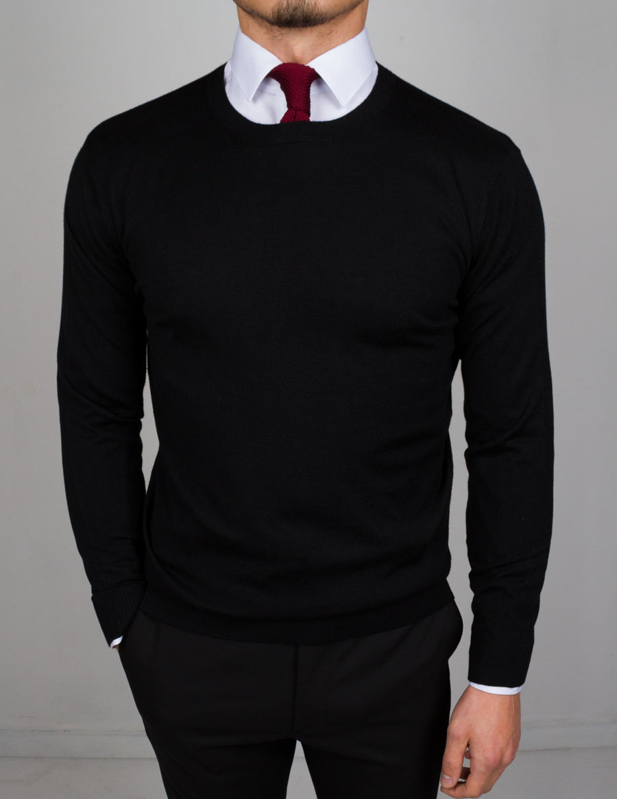 Black Round Neck Sweater - Gentlemen's Crate