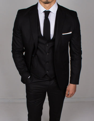 Black 3 Piece Suit - Gentlemen's Crate