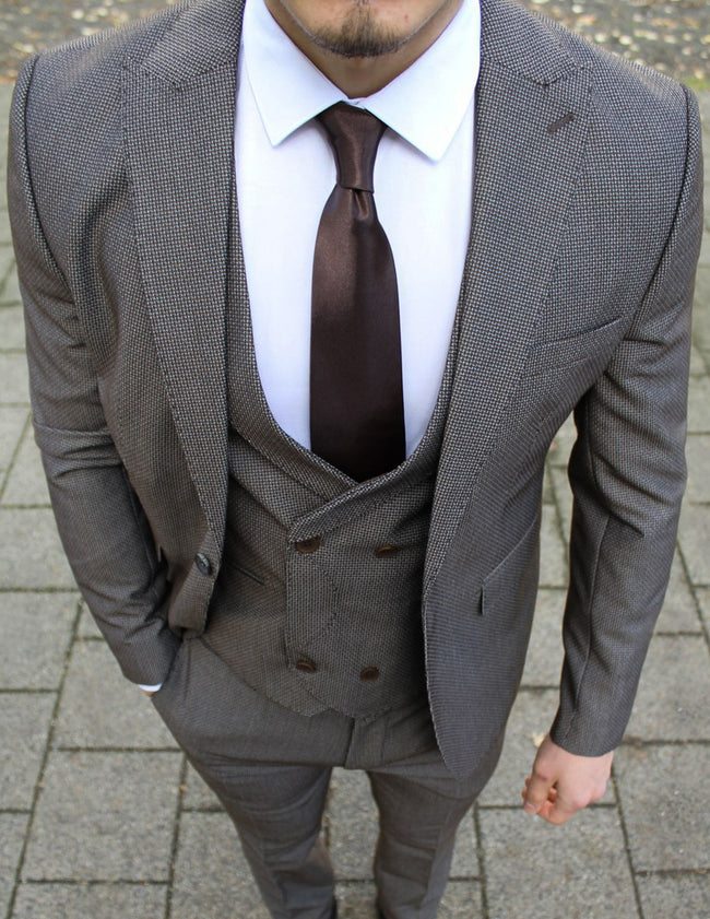 Charcoal Brown 3 Piece Suit - Gentlemen's Crate