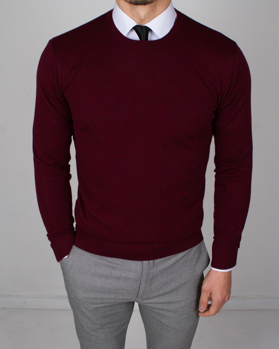 Burgundy Round Neck Sweater - Gentlemen's Crate