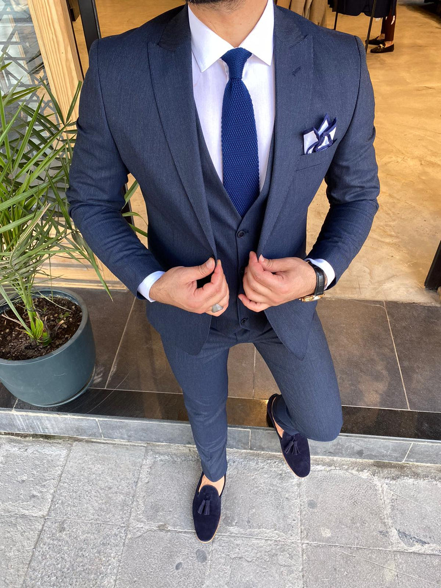 Dark Blue Striped 3 Piece Suit