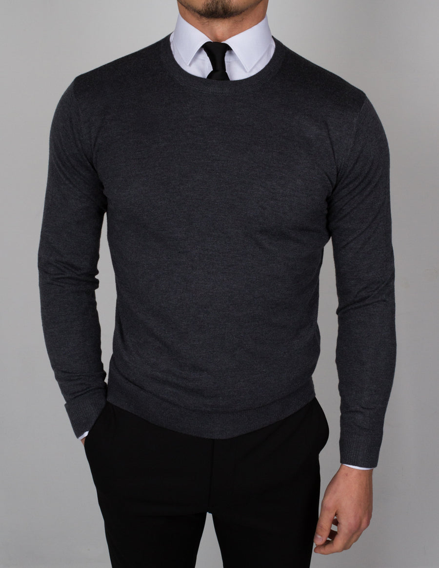 Dark Gray Round Neck Sweater - Gentlemen's Crate