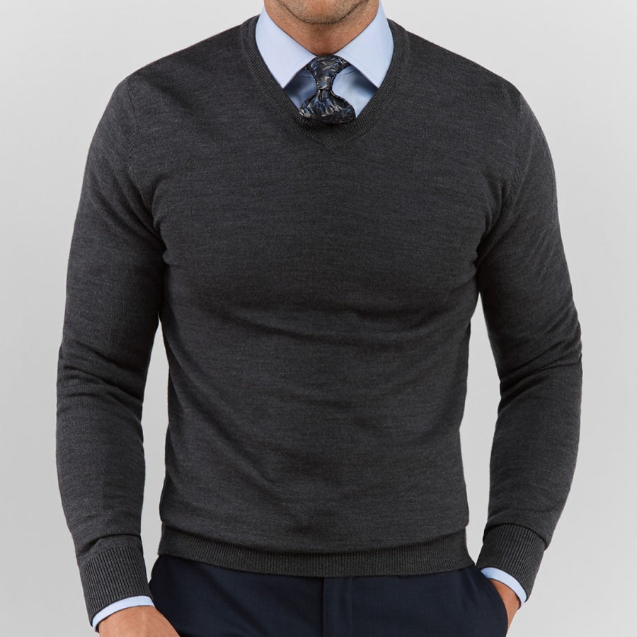 Dark Grey V Neck Sweater - Gentlemen's Crate