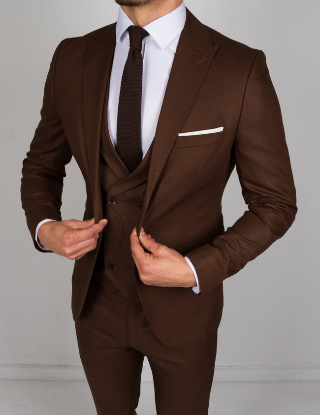 Dark Brown 3 Piece Suit - Gentlemen's Crate